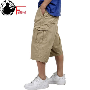 military style summer men baggy cargo cotton knee length pants.