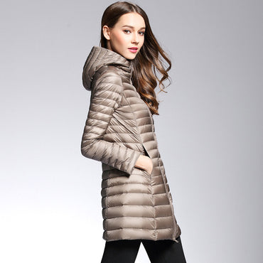 Woman Spring Padded Hooded Long Duck Down Jacket.