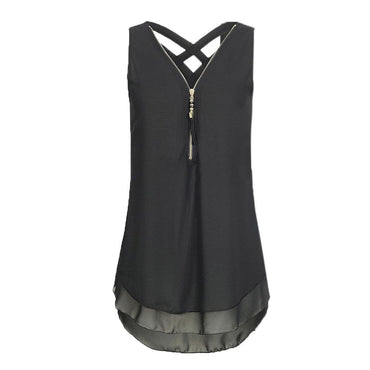 Tunic Zipper V Neck Tops Sleeveless Criss Cross Casual Ladies Tank Tops.