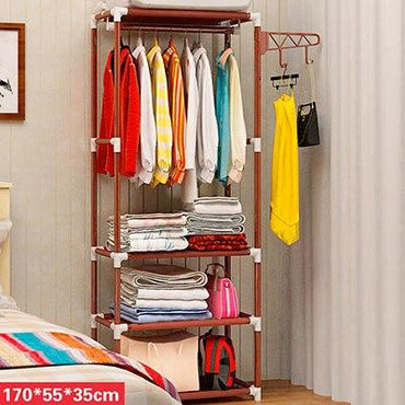 Simple DIY Assembly Coat Rack Floor Clothes Storage Hanging Hangers Rack Creative Clothing Storage Shelf Bedroom Furniture