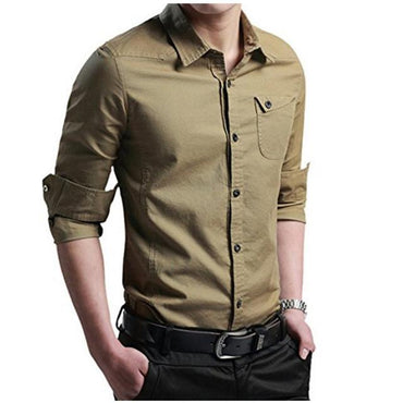 Men Shirt New Solid Color Men'S Long-Sleeved Dress Shirt.