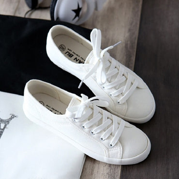 Classic Women Flats Solid White Sneakers Casual Ladies Canvas Shoes.