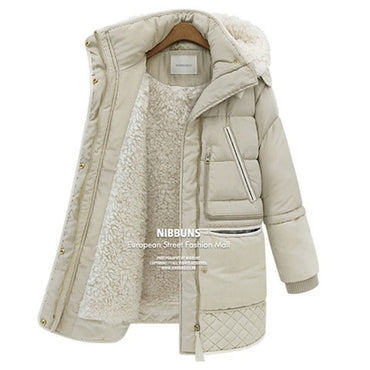 Winter thick white duck feather lamb wool imitation women's down coat.