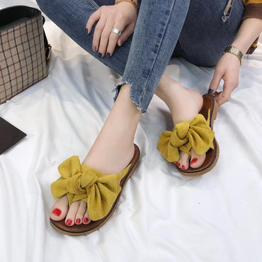 Summer Hot Sale Women Flip Flops Fashion Solid Color Bow tie Flat Sandals.