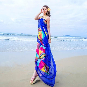 Women Beach Sarongs Beach Cover Up Summer Chiffon Scarves Geometrical.