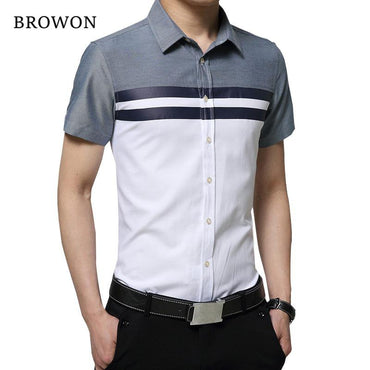 BROWON New Arrival Mens Shirt Fashion Short Sleeve Men Shirt.
