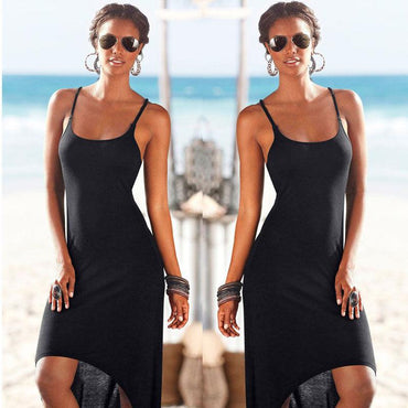 Women Polyester Black Bandage Long Beach Dress Summer Ladies Sleeveless Backless.