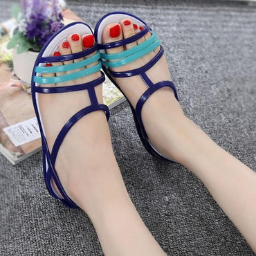Women Summer New Candy Color Peep Toe Flats Sandals.