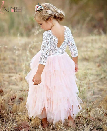 New Arrival Puffy Lace Pink Flower Girl Dresses.