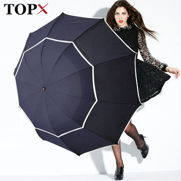 Double Golf Umbrella Rain Women Windproof 3Floding Large Male Women Umbrella