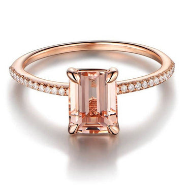 2Pcs Ring/Set Rose Gold Filled White Crystal Wedding Ring.