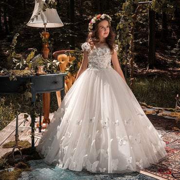 2018 Lace Ball Gown Flower Girl Wedding Party Dress.
