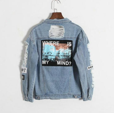 Korea Kpop retro washing frayed embroidery letter patch bomber jacket.