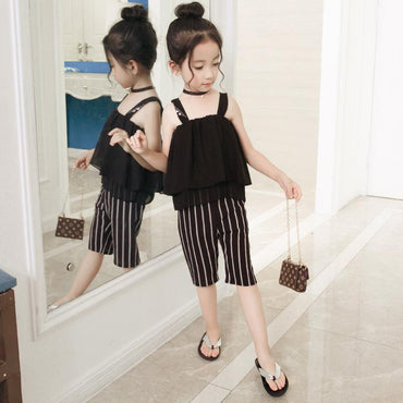 Girl Summer Clothes  Set Striped Shoulder off Vest Wide Leg Pants 2 pcs Chiffon Clothing Set.