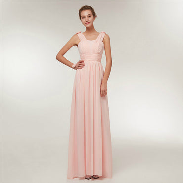 2018 Chiffon Long Pink  A-Line Sleeveless Wedding Party Prom Girl Dresses.