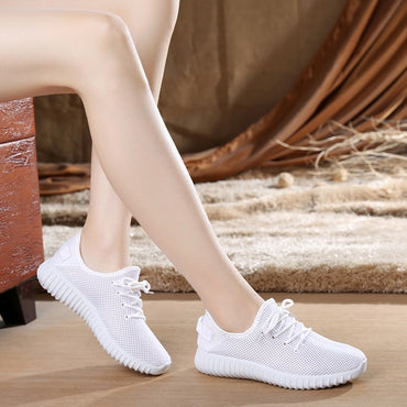 Women Casual Shoes Summer White Mesh Candy Colors Flats Shoes.