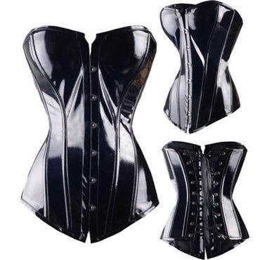 Corset Sexy Leather Faux Black Steampunk Corsets and Bustiers .