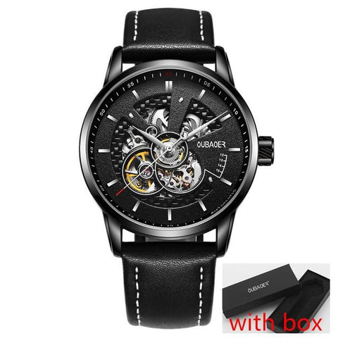 Leather Military OUBAOER Original Men Watch