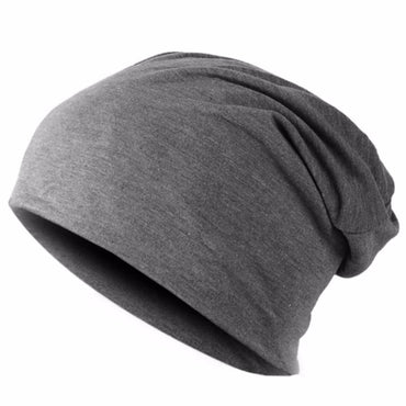 Men  Beanie Knitted Winter Autumn Cap Solid Color Hip-hop Slouch hats .