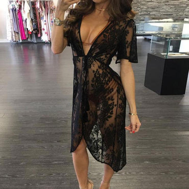 Long Lace Sexy Beach Tunic Cover Up Dress Women Beach Dress Bikini Cover Up.