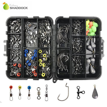 fishing 160PCS/Box Fishing Accessories Hooks Swivels Lead Fishing Sinker With Ring Carp Fishing Tackle Boxes