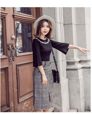 Skirt Suits Plaid Long Skirt + Knitted Sweater Two Piece Set.