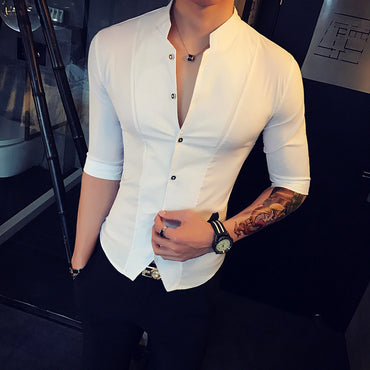 Stand Collar Chinese Style Shirt Men Slim Fit Korea Clothes Men Half Sleeve.