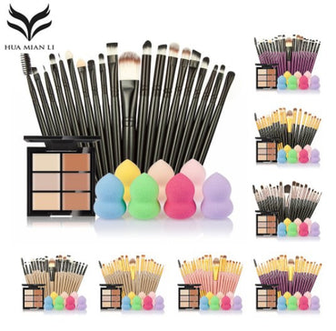 6 Colors Concealer Palette maquiagem Puff 20 brushes