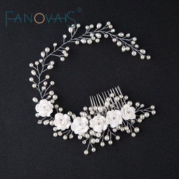 Beads Flower Bridal Head Wear With Comb Luxurious Elegant Wedding Accessories.