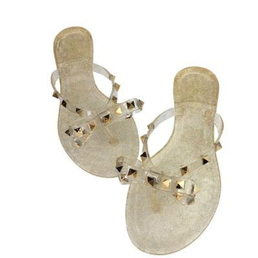 fashion women sandals flat jelly bow V flip flops stud beach shoes.