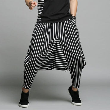 INCERUN Japan Style S-5XL Cross-pants Men Irregular Striped Patchwork Harem Pants.