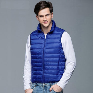 New Winter Men 90% White Duck Down Vest Portable Ultra Light Sleeveless Jacket.
