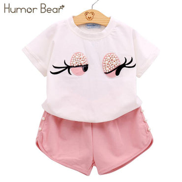 Girls Clothes Set Lovely Long Eyelashes Toddler Girl tops + Pants Girls Suit Kids Clothes.