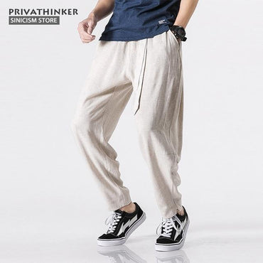 Sinicism Store Size Plus 5XL Cotton Linen Harem Pants.