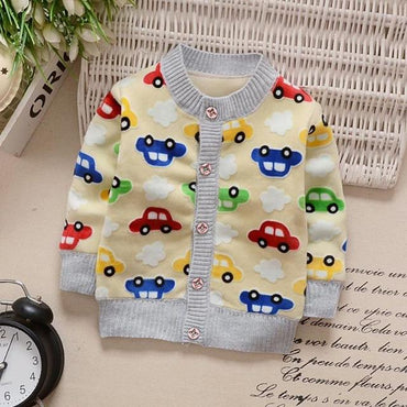 Baby Girl Boy Clothes Cartoon Cardigan Long Sleeve Coat Sweatshirt.