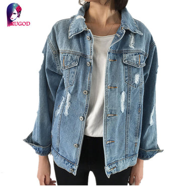 Jeans Jacket Women Casacos Feminino Slim Ripped Holes Denim.