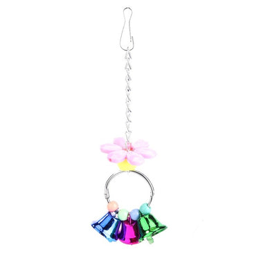 Colorful Parrot Pet Bite Climb Chewing Toy Bird Nest Decorative Hanging Ornament with Bell Pet Bird Hanging Toys Pet Supplies