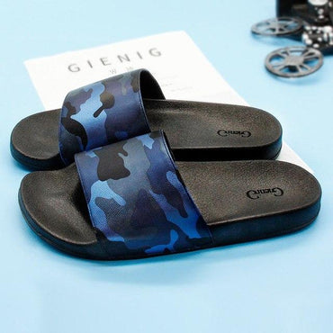 PU leather summer home breathable men slippers