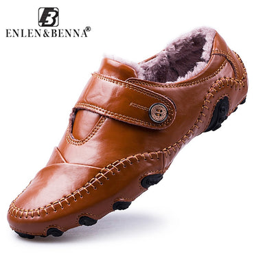 Men's Casual Shoes British Style Moccasins Genuine Leather Flats Hombre Loafers.