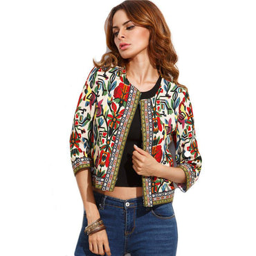 Embroidery Outerwear Winter Tribal Print Office Ladies Jackets.
