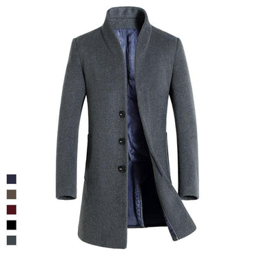 NEW  High Quality Mens Long Wool Trench Coat.