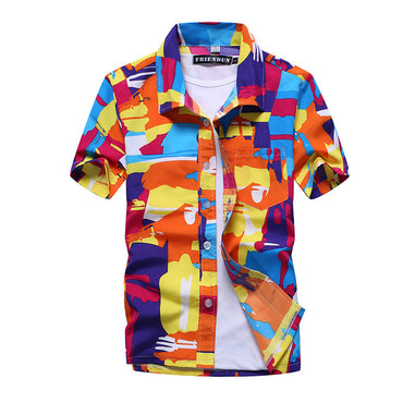 Uwback Men's Summer Hawaiian Shirts Printed Fashion Light Beach Shirts Short Sleeve.