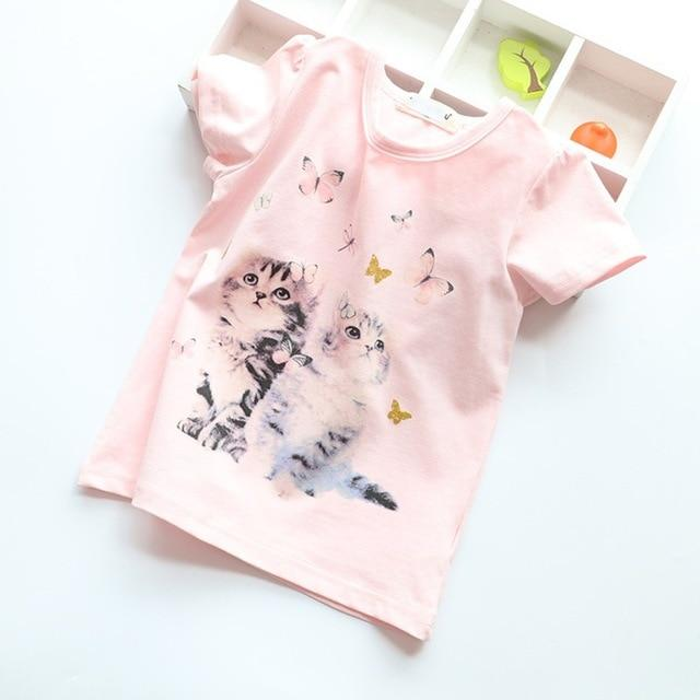 a7980af76ef3 T-Shirts for Girls Clothes Cat Rabit Butterfly Baby T Shirt Toddler Tops