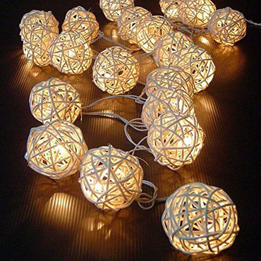 20 Luminaria Led Rattan Balls Fairy String Decorative Lights Battery Operated Christmas Outdoor Patio Garland Wedding Decoration