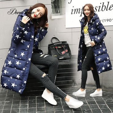 Hooded Colorful Long Warm Winter Down Coat Jacket .