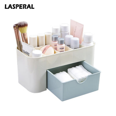 LASPERAL Multi-functional Plastic Makeup Box Jewelry Box Cosmetic Storage Organizers With Small Drawer Desk Sundries Organizers