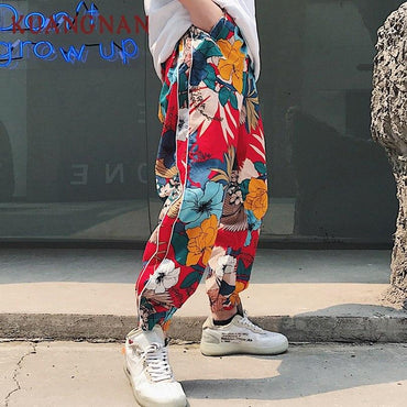 KUANGNAN Japanese Floral Men Harem Pants.