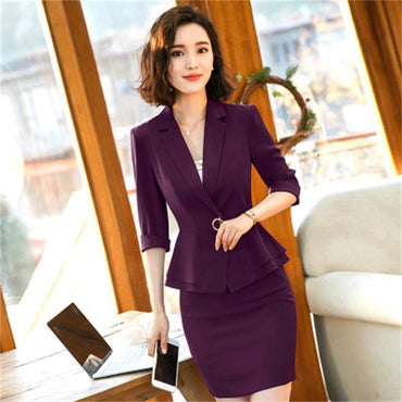 New business women's office suit skirt with Half sleeves blazer set.