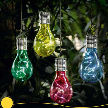 Solar Powered led light Hanging Lamp with Light Sensor Bulb Lawn Lamp garden solar lights for Outdoor Decor (Warm White Light)