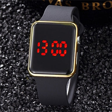Waterproof Silicone White Black Women LED Sport Watch
